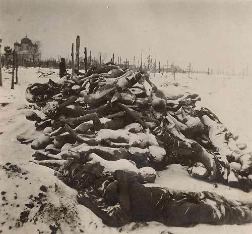 Трупы умерших от голода, собранные за несколько декабрьских дней 1921 на кладбище в Бузулуке, Россия, РСФСР, Поволжье. 1921 год.