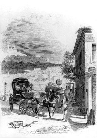 Въезд Чичикова в губернский город. Автор Александр Агин. 1847 год