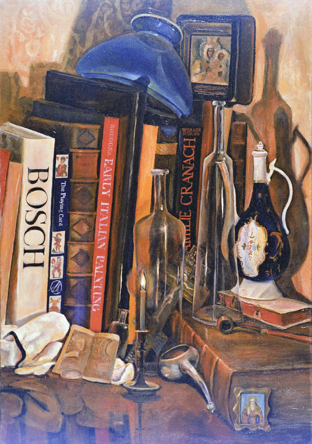 Картина «Натюрморт скнигами» художника Льва Прыгунова.
