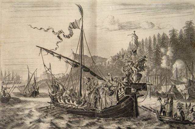 Степан Разин бросает персидскую царевну в Волгу.