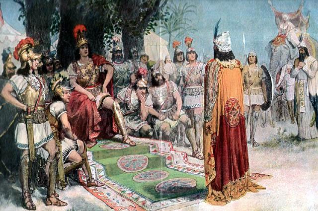 Александр встречает индийского царя Пора, пленённого в битве на реке Гидасп