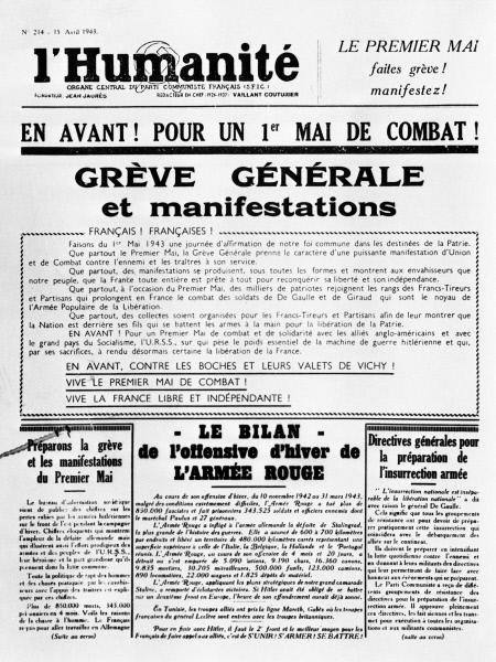 Первая страница номера газеты Юманите от 15 апреля 1943 года, призывающего к всеобщей забастовке и первомайской демонстрации. В номере помещена статья, рассказывающая о победах Красной армии в ходе зимней кампании 1942 1943 годов