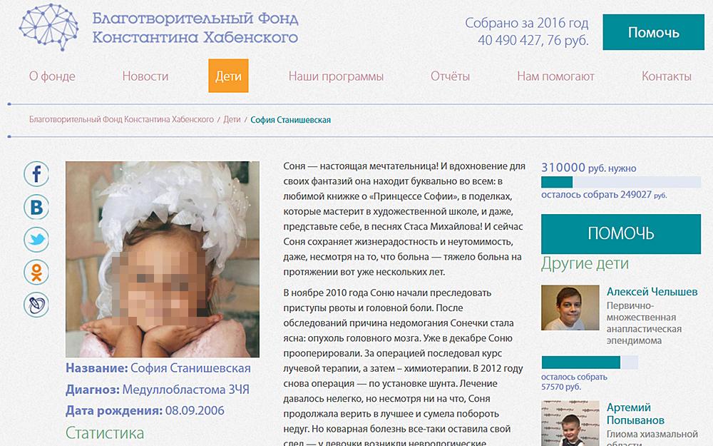 Скриншот с сайта «Благотворительный фонд Константина Хабенского».