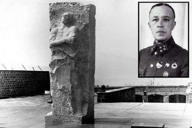 Памятник генералу на территории бывшего концлагеря Маутхаузен.