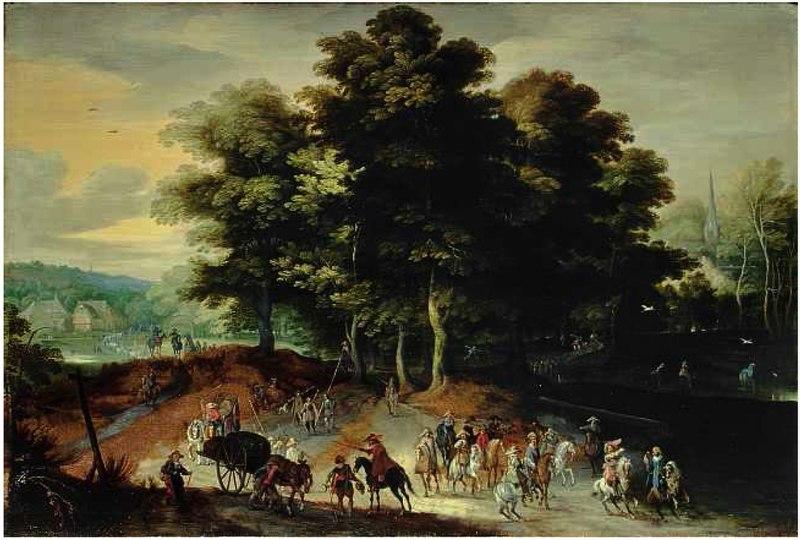 Питер Меленер. Лесно ландшафт с солдатами на конях.