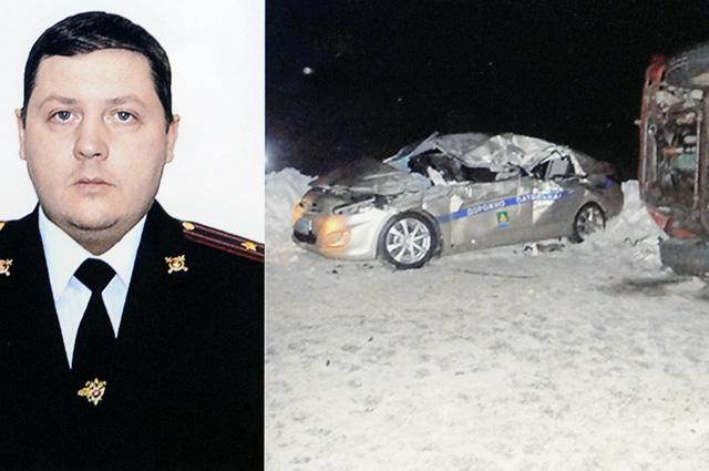 Патрульный автомобиль, управляемый майором Д. Шпаком, принял удар на себя, защитив автобусы с детьми от выехавшего со встречки грузовика.