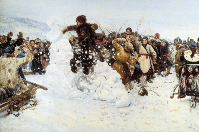 Картина «Взятие снежного городка» (фрагмент).