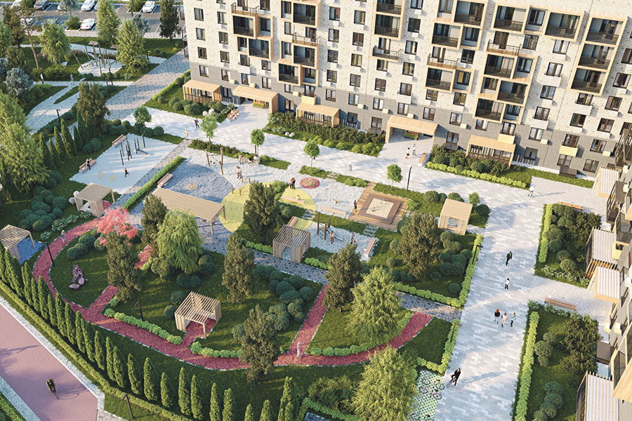 В каждом дворе – обязательные тренажёры, спортивные и детские площадки, места отдыха.