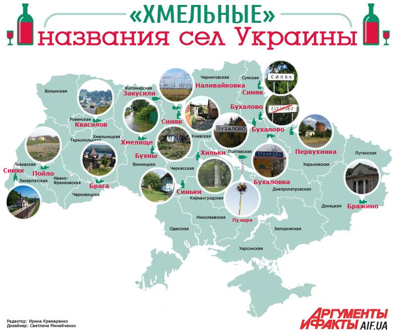 «Хмельные» названия сел Украины