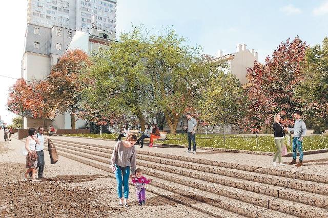 Новый Арбат выстелют гранитной плиткой, южную сторону превратят в парк, а разница в уровнях не помешает инвалидам. Фото предоставлено Департаментом капитального ремонта Москвы.