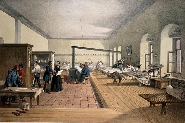 Больничная палата в Скутари, где работала Флоренс Найтингейл. 1856 г. Литография Уильяма Симпсона.
