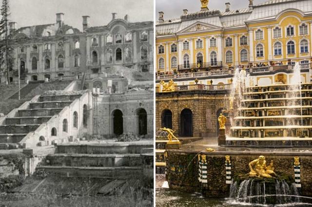 Артиллерийский огонь практически полностью уничтожил дворцово-парковый ансамбль Петергоф.