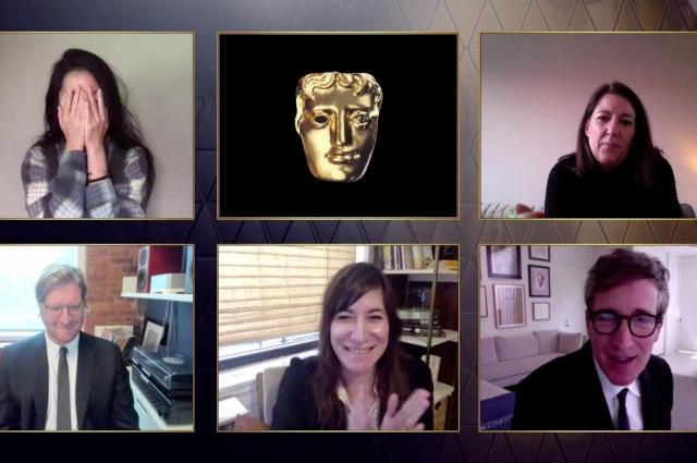 Молли Ашер, Дэн Дженви, Питер Спирс и режиссер Хлоя Чжао реагируют на награду BAFTA за лучший фильм за фильм