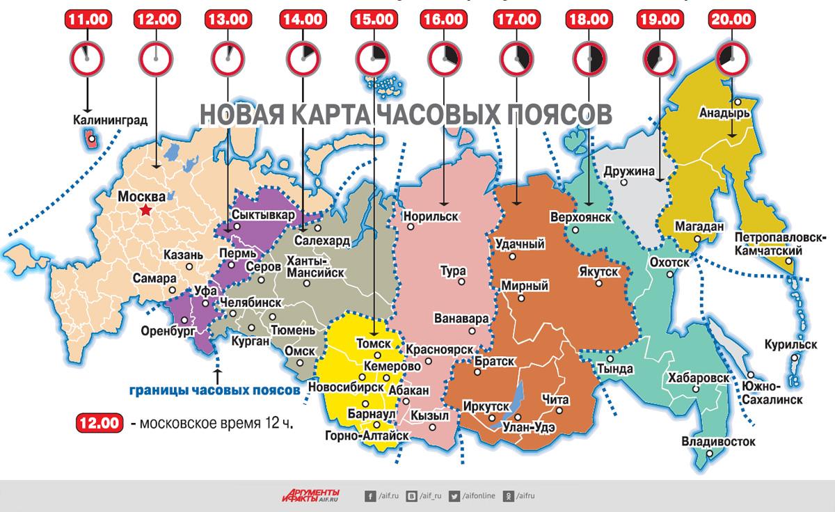 Новая карта часовых поясов России