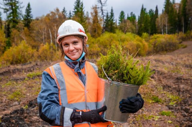 Посадка деревьев - одно из любимых экологических мероприятий угольщиков. На фотографии - Ольга Никандрова, главный специалист по охране окружающей среды разреза «Распадский».