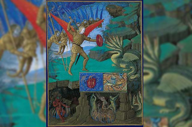 Архангел Михаил, побивающий сатану, миниатюра из Часослова Этьена Шевалье Жана Фуке