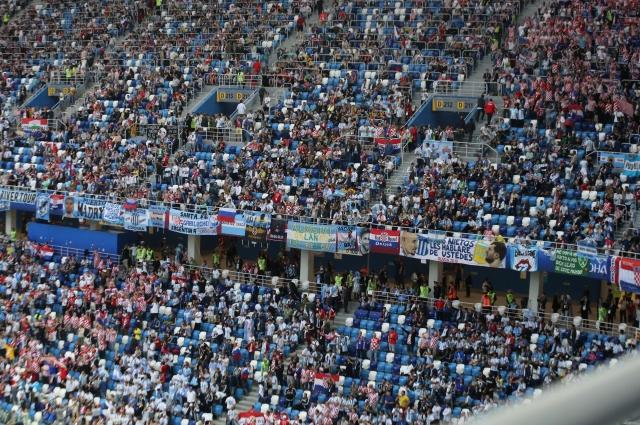 Большинство зрителей было одето в бело-голубые цвета сборной Аргентины