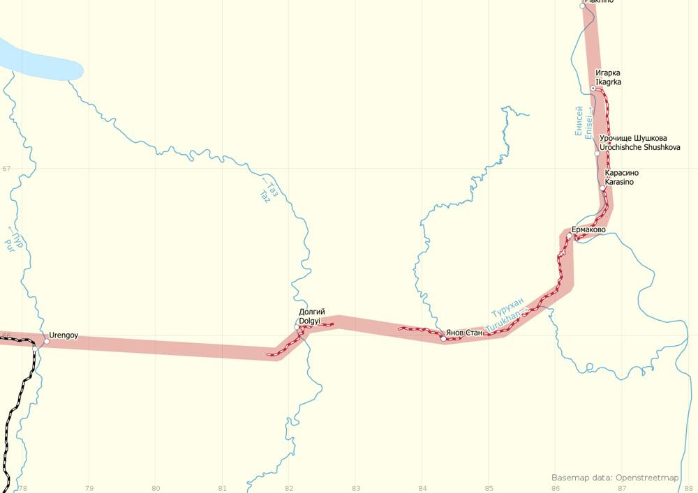 Карта стройки 503, участок Пур— Игарка.