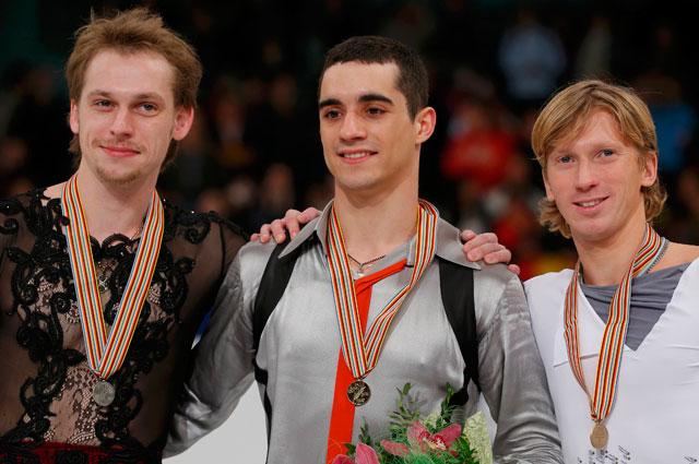 Серебряный призер чемпионата Европы по фигурному катанию Сергей Воронов, победитель Хавьер Фернандес из Испании и бронзовый призер Константин Меньшов