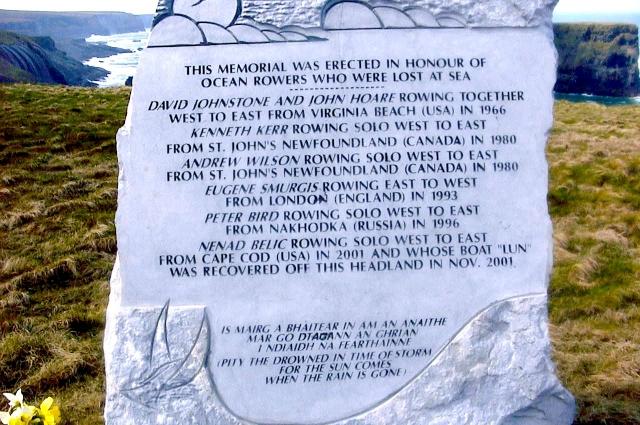 В Ирландии установили памятник всем погибшим в Атлантике гребцам. Имя Смургиса - среди них.