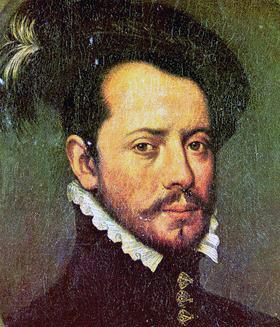 Кортес в молодые годы. Изображение XVII века (ни одного прижизненного портрета завоевателя Мексики не существует).