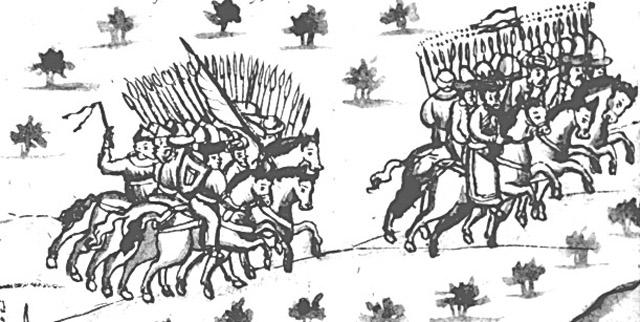 Бегство Кучума из Искера. Иллюстрация из Кунгурской летописи.