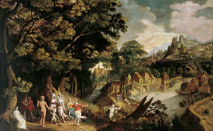 Гиллис ван Конингсло. Пейзаж с библейской сценой.