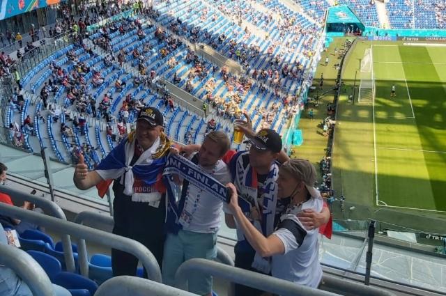 Атмосфера на трибунах матча Россия-Финляндия была дружественной