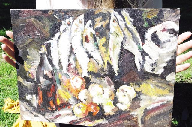 «Рыбы, вино и фрукты». Копия картины Константина Коровина.