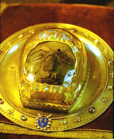 Передняя часть черепа святого Иоанна Крестителя в соборе Амьена.
