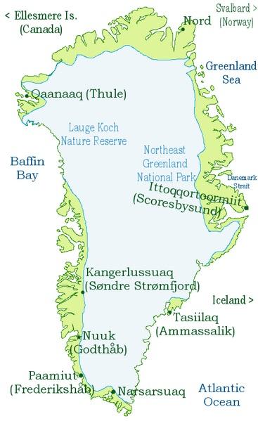 Карта-схема Гренландии и её ледникового щита.