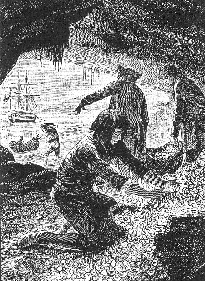 Джимми Хокинс возле сокровищ. Иллюстрация к французскому изданию 1885 года, художник Жорж Ру.