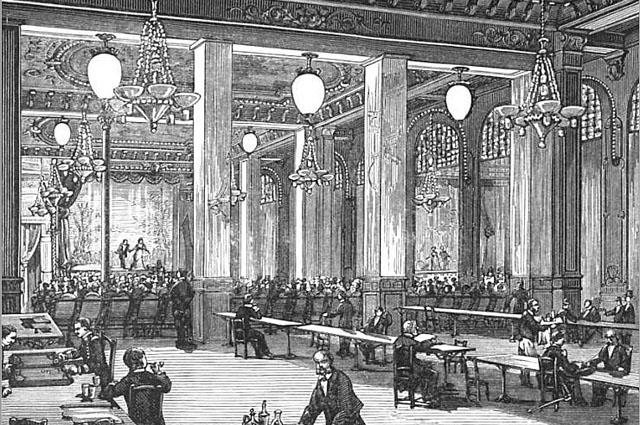 Свеча Яблочкова в музыкальном зале в Париже.