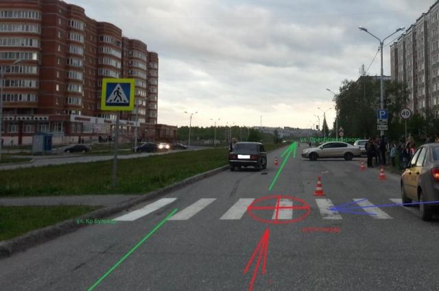 По предварительным данным, водитель превысил скорость и не смог остановиться перед пешеходным переходом