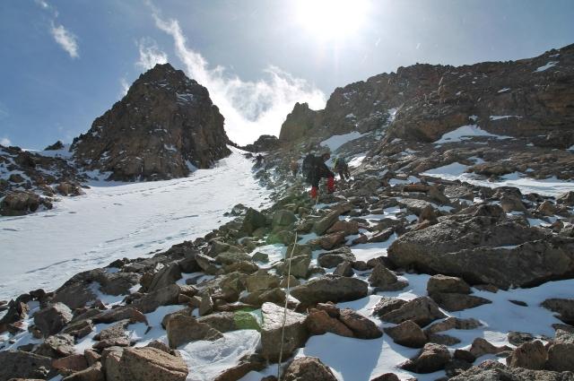 Сводное отделение красноярских, новосибирских и южно-сахалинских альпинистов на маршруте 3А на вершину пика Комсомол.