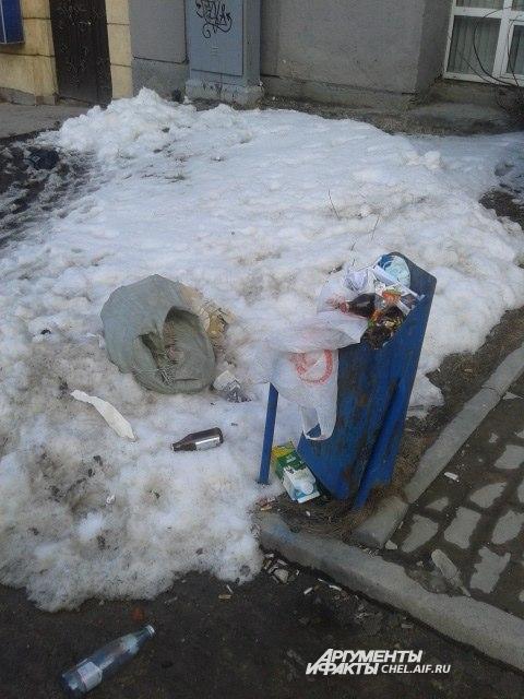 В центре Челябинска явно не хватает мусорных контейнеров