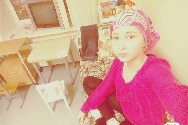 Анастасия во время лечения в онкологическом отделении.
