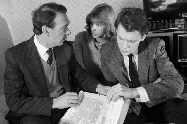 Алексей Баталов, Вера Глаголева и Никита Михайловский на съемках фильма «Зонтик для новобрачных», 1986 год
