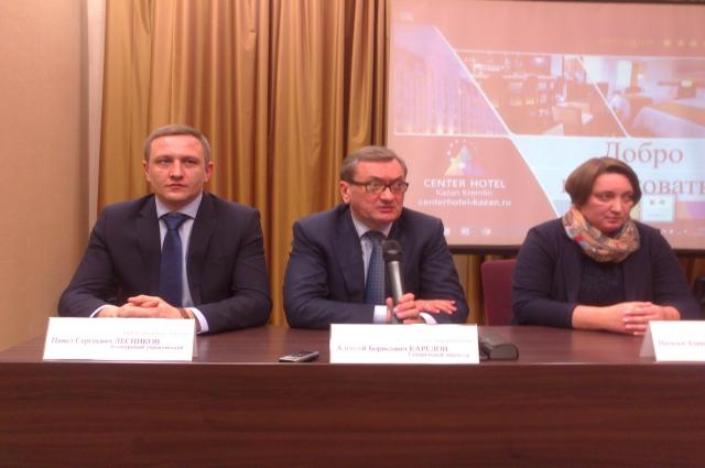 Алексей Карелов (в центре), Павел Лесников и Наталья Осипова.
