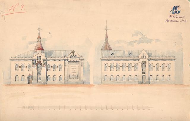Каменное здание двухэтажной школы кройки и шитья (Ф.Е. Вольсов).