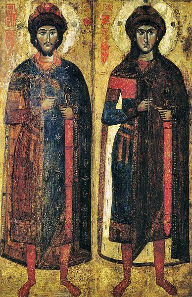 Одна из древнейших икон, изображающая Св. Бориса и Глеба. Найдена в Новгороде, но скорее всего написана в Твери в начале 1300-х