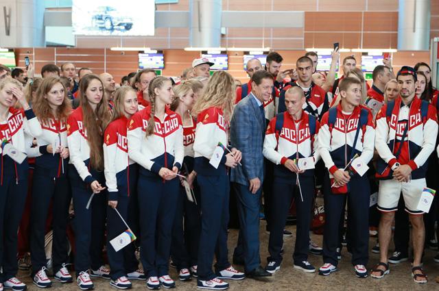 Проводы олимпийской сборной России в Рио-де-Жанейро.