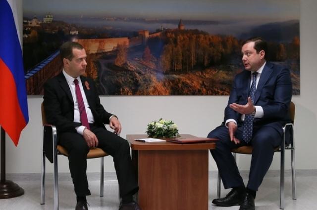 Встреча председателя правительства Дмитрия Медведевас губернатором Смоленской области Алексеем Островским.