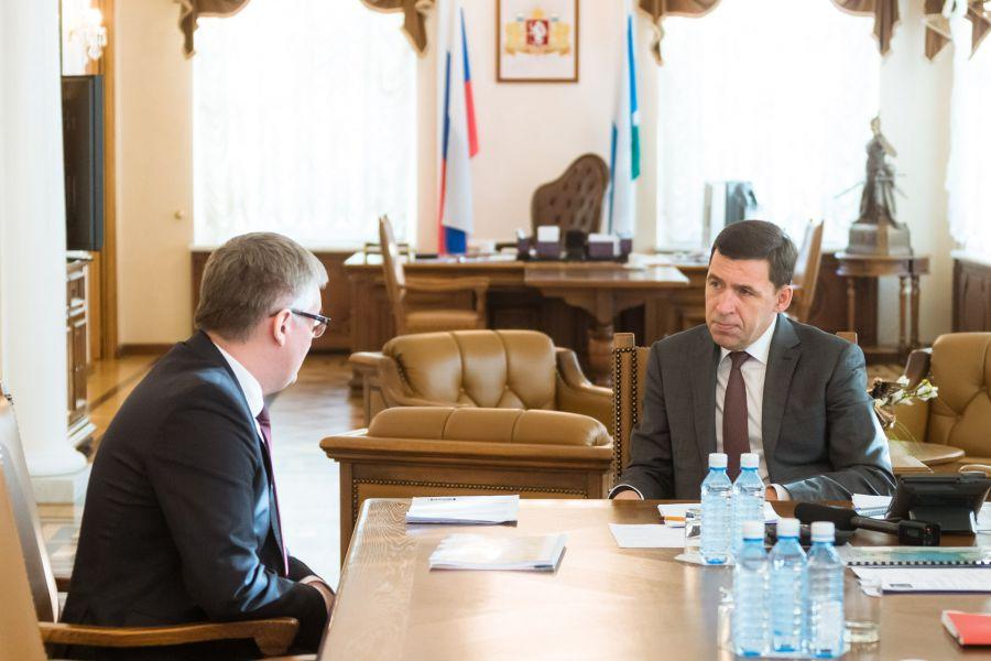 Евгений Куйвашев и новый директор Шарташского лесопарка Артур Зиганшин