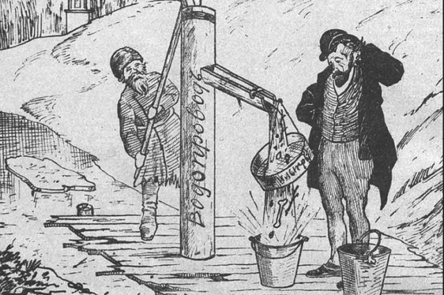 В шаржах и карикатурах высмеивались вечные российские проблемы - плохие дороги, взяточничество, пьянство.