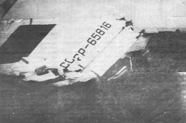 Столкновение двух Ту-134 над Днепродзержинском, хвостовая часть одного из самолётов