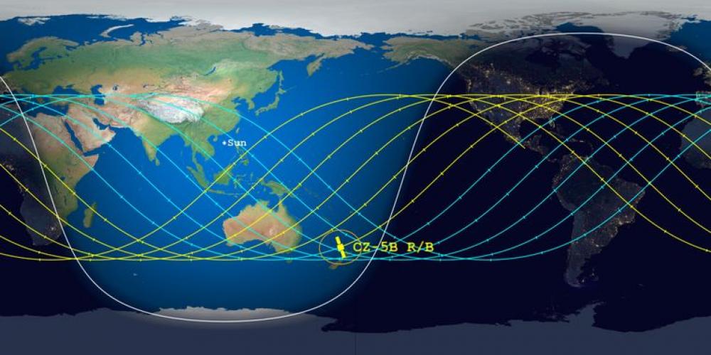 Траектория падения обломков китайской ракеты