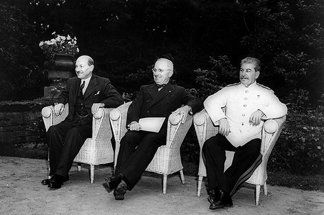 К. Эттли, Г. Трумэн, И. В. Сталин