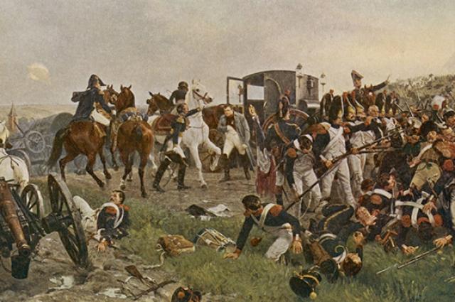 Наполеон на поле битвы при Ватерлоо
