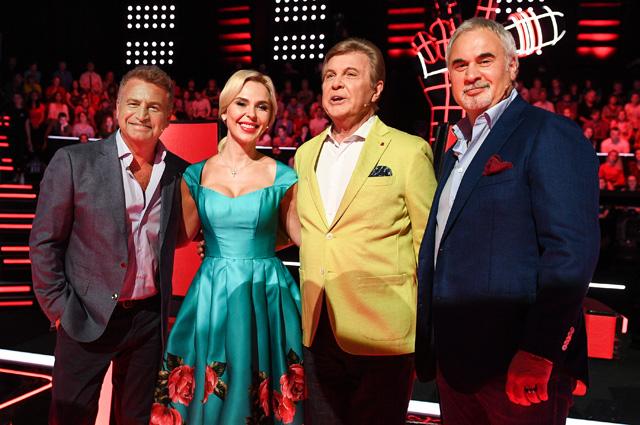 Наставники шоу «Голос 60+»: Леонид Агутин, Пелагея, Лев Лещенко и Валерий Меладзе.